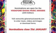Vodafone Ghana Music Awards officially opens nominations for 20th edition