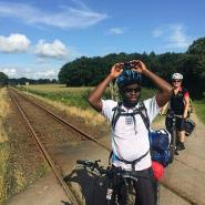 Ghanaian Cycles 19 Days from Denmark to Swansea to fight against Illigal Migration