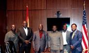 Photo of media men from left to right: Wofa Yaw Agyarko - Sankofa radio, Sonny Vanderpuye - West African Times, Ambassador Adjei-Barwuah, George Bright-Abu - Afrikan Post, Nana Yaw Darko - Sankofa Radio and Mr. Charles Mensah (Mr. CNN) - 3G media
