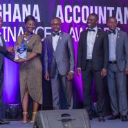 HR Manager of GCNet, Mrs. Akosua Asamoah receiving one of the awards at the 2nd Ghana Accountancy and Finance Awards.