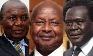 F-R: Paul Ssemogerere, President Museveni, Obote
