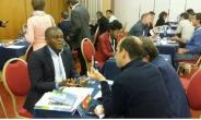 Managing Director of Elenmines company limited  Dr Mawuli  Lincoln Eleblue interacting with investors at the NERSANT business summit in Portugal