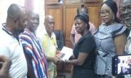 Lydia Alhassan submitting her forms to the EC