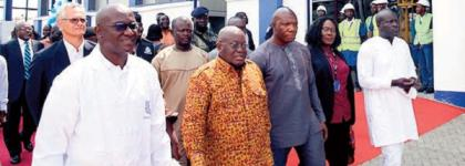 President Akufo-Addo with Nazaire Djako (left), Supply Chain Director, Unilever Ghana and others.