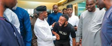 VP Yemi Osinbajo Stroms Ikeja Cinema to Watch Woli Arole's Movie