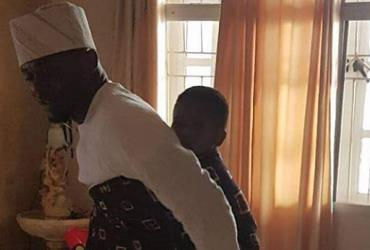 Single Father, Ubi Franklin Backs Baby to Office (photos)