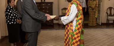 High Commisioner Adjei Presents Credentials To The Governor General Of Australia.