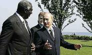 John Kufuor, a leading NPP member and then President with Vladimir Putin at the 33rd G8 summit held 6-8 June, 2007 at Kempinski Grand Hotel in Moscow.