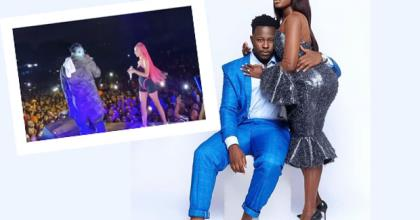 Fella Makafui and Medikal. INSET: Sister Derby and Medikal on stage