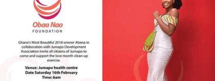 Ghana's most Beautiful winner 2018 Naomi Obeng ( Abena) invites Jumapo citizens to clean.