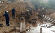 A galamsey site in the centre of the community
