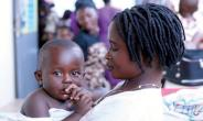 A mother and her at a child health clinic