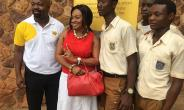 From Left, Nii Adotey Mingle, Dr. Shirley Owusu Ofori And Some Of The Students At OWASS After Their Donation