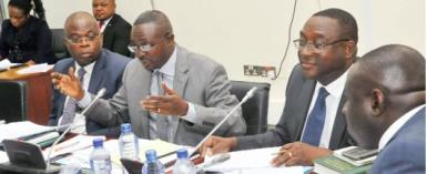 The Chairman of the committee, Mr Kwasi Ameyaw-Cheremeh (2nd left)