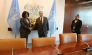 Picture by R. Harry Reynolds show Ms. Shirley Ayorkor Botchwey (left) in a handshake with Mr. Guterres.