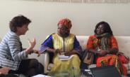 Picture shows the Ms. Otiko Djaba (Middle) Ms. Appiagyei (right) listening to Ms. Elleman (with a hand raised).