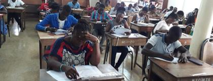 Examination candidates at the Berekum College of Education Centre