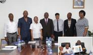Group picture of managements of GPHA and Diamond Cement. INSET:The Director-General of GPHA showing the concept layout of the port of Keta.