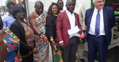 Merton Council Leader Cuts A Ghanaian Business Sod In London