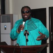 Grams Morgan, PANAFEST Ambassador, addressing the press at the unveiling ceremony