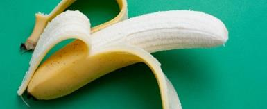 Partially peeled ripe banana showing the sweet flesh of this popular tropical fruit on a green background
