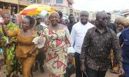 Lady Julia and Osei Assibey being welcomed to the Bantama market
