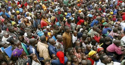 The faster population growth of Africa due to its increasing birth rate per head