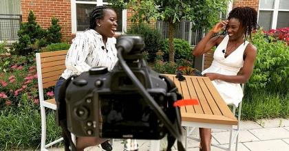 Jynna (left) interviewing her first Borga Diaries guest Francesca Koduah