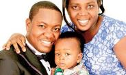 Pastor Ebenezer Kessie with his late wife, Linda Kessie and child