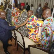 President Akufo-Addo exchanging pleasantries with the chiefs