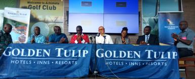 High table members at the press briefing . INSET: Prez Akufo-Addo