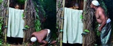 Man Peeps At His Bathing Fiancée In Unusual Pre-Wedding Photos