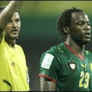 Bikey is sent off by referee Abderrahim El Arjoune