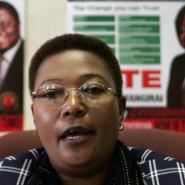 Thokozani Khupe, deputy leader of the Movement for Democratic Change (MDC) gives a press-conference in Harare on May 3, 2008.  By ALEXANDER JOE (AFP/File)