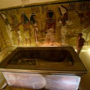 The golden sarcophagus of King Tutankhamun displayed in his burial chamber in the Valley of the Kings, close to Luxor.  By MOHAMED EL-SHAHED (AFP)