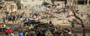 The October 14 explosion occurred at a junction in Hodan, a bustling commercial district of Mogadishu which has many shops, hotels and businesses in the northwest of the Somali capital.  By Mohamed ABDIWAHAB (AFP/File)