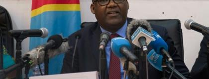 The president of DR Congo's Independent National Election Commission,  Corneille Nangaa, announces the provisional results of the presidential election in January 2019.  By Junior D. KANNAH (AFP/File)