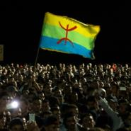 This file photo taken on October 30, 2016 shows protesters waving the Berber flag as they demonstrate in Morocco's northern city of Al-Hoceima.  By FADEL SENNA (AFP/File)