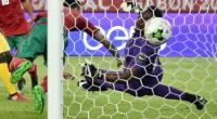 Togo goalkeeper Kossi Agassa (right) concedes a goal during the Africa Cup of Nations match against Morocco in Oyem, Gabon, on January 20, 2017.  By ISSOUF SANOGO (AFP/File)