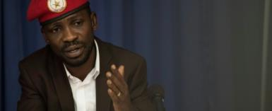 Ugandan politician Robert Kyagulanyi, better known as pop star Bobi Wine, spoke to a crowd in Nairobi in October during a five day visit to Kenya.  By Biko MACOINS (AFP/File)