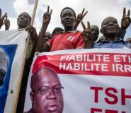 UDPS opposition party supporters take part in a rally in Kinshasa on April 24, 2018, the first opposition rally authorized since September 2016.  By Junior D. KANNAH (AFP)