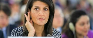 US Ambassador to the United Nations Nikki Haley, seen here at a session in June of the UN Human Rights Council, is criticizing African states for backing a bid by the Democratic Republic of Congo to gain a seat on the Geneva-based body.  By Fabrice COFFRINI (AFP/File)