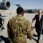 US Defence Secretary James Mattis (right) flew from Qatar where he was on a regional tour of the Middle East.  By JONATHAN ERNST (POOL/AFP)