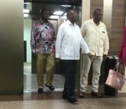 Zimbabwe's former president Robert Mugabe was seen leaving a lift in Gleneagles Hospital in downtown Singapore around midday.  By Ting Wei TOH (AFP)
