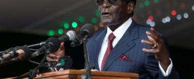 Zimbabwe's President Robert Mugabe delivers a speech during celebrations marking his birthday in February 2016.  By Jekesai Njikizana (AFP/File)