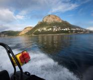 A Marine Law Enforcement officer working for the city of Cape Town patrols False Bay, near Simon's Town, looking for poachers of abalone shellfish, especially coveted by Chinese diners.  By RODGER BOSCH (AFP)