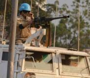A Moroccan peacekeeper from the United Nations Mission in the Central African Republic (MINUSCA) patrols in Bangui, in 2015.  By ISSOUF SANOGO (AFP/File)