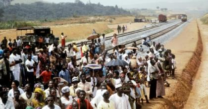 A file picture of the January 18, 1983 inauguration of part of  Trans-Gabon Railway.  By STRINGER (AFP/File)