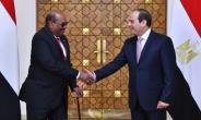 A handout picture released by the Egyptian presidency on March 19, 2018 shows Egypt's President Abdel Fattah al-Sisi (L) shaking hands with his Sudanese counterpart Omar al-Bashir upon his arrival at the presidential palace in Cairo.  By Handout (EGYPTIAN PRESIDENCY/AFP)