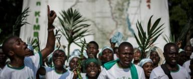 A Kimbanguist choir  in the Democratic Republic of Congo celebrate